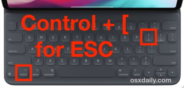 Typing ESC key on iPad keyboards with Control and Open Bracket